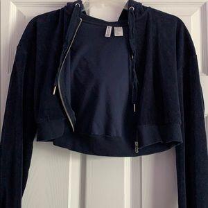 Navy Blue Velvet Cropped Jacket